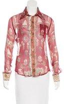 Jean Paul Gaultier Silk Print Long Sleeve Blouse