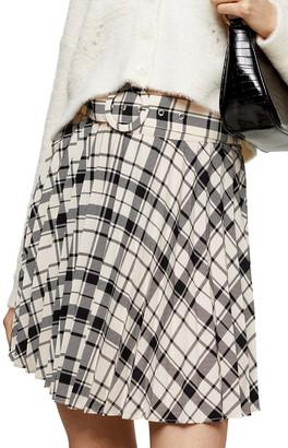 Topshop Plaid Pleated Miniskirt
