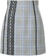 MSGM lace trim check skirt