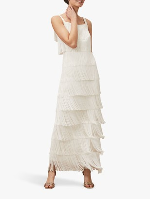 Phase Eight Elecia Fringe Wedding Dress, Parchment