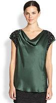 Josie Natori Embellished-Detail Silk Charmeuse Top