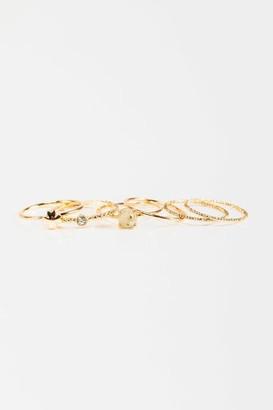 francesca's Frances Clover Ring Set - Gold