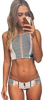 JHCK Women's 2016 Wind Palm Stripe Printed High Neck Zipper High Waisted Swimsuit