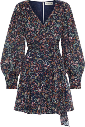 Nicholas Magnolia Wrap-effect Printed Silk-georgette Mini Dress