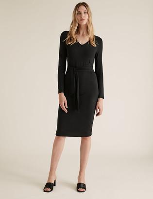 Marks and Spencer V-Neck Belted Tailored Dress