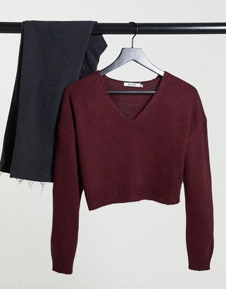 NA-KD v neck cropped knitted jumper in burgundy