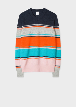 Paul Smith Women's Navy And Pink Stripe Alpaca-Blend Sweater