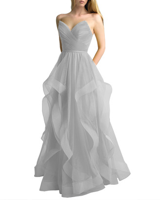 Basix II Corseted Tulle A-Line Gown with Cascading Skirt