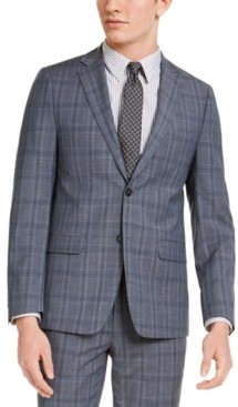 Calvin Klein Men's Skinny-Fit Gray/Blue Plaid Suit Jacket