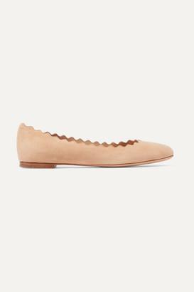 Chloé Lauren Scalloped Suede Ballet Flats - Neutral