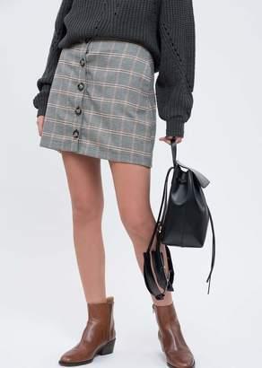 Blu Pepper Plaid Button Down Mini Skirt