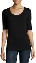 Neiman Marcus Majestic Paris for Soft Touch Half-Sleeve Scoop-Neck Top
