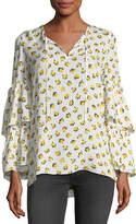 Kobi Halperin Savanna Split-Neck Floral-Print Silk Blouse