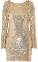 Rachel Zoe Racko Open-back Sequined Cady Mini Dress