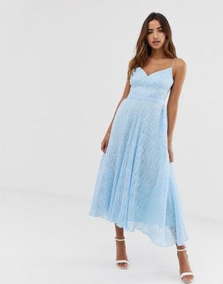 Forever U cami prom midi lace dress in pale blue