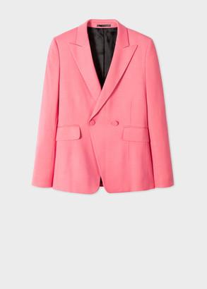 Paul Smith Women's Pink Wool-Blend Tuxedo Double-Breasted Blazer