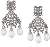 Kenneth Jay Lane Bride Simulated White Pearl Crystal Bow Chandelier Dangle Clip-On Earrings