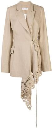 Oscar de la Renta Draped Lace-Panelled Blazer