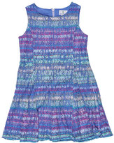 Florence Eiseman Sleeveless Striped Lace Shift Dress, Multicolor, Size 4-6X