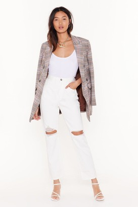 Nasty Gal Womens Zoe Cropped Distressed Jeans - White