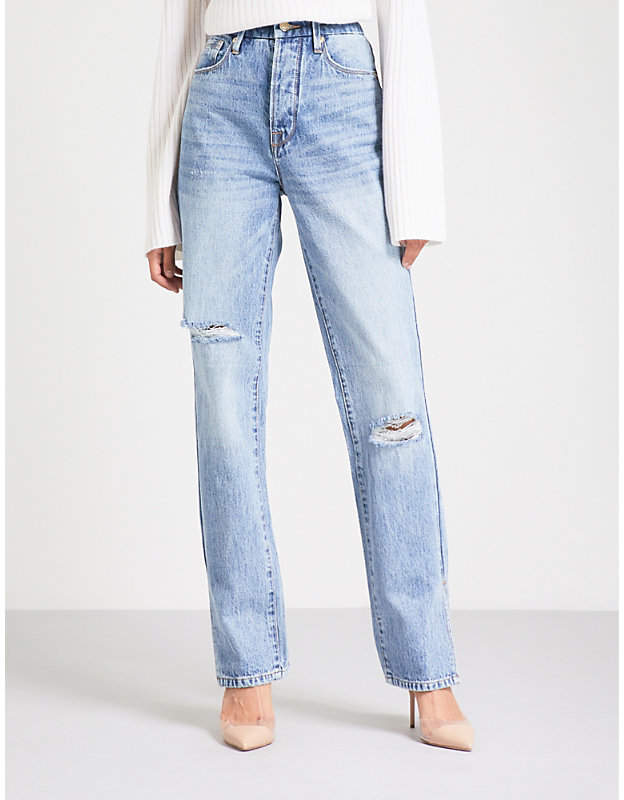Good American Good Boy distressed straight high-rise jeans