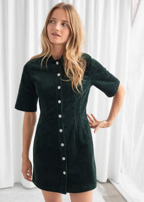 And other stories Corduroy Button Up Mini Dress