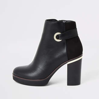 River Island Black faux leather eyelet platform boot