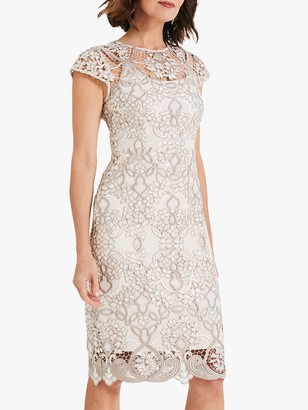 Phase Eight Frances Lace Dress, Latte/Oyster