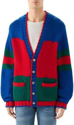 Gucci Oversize Colorblock Wool Cardigan
