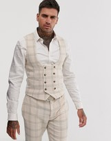 Asos DESIGN wedding super skinny suit vest in cream wool blend houndstooth