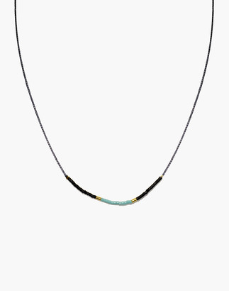 Madewell Cast of Stones Beaded Intention Necklace in Turquoise and Black