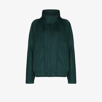 Pleats Please Issey Miyake Collared Asymmetric plisse bomber jacket