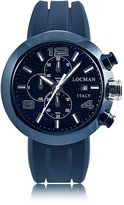 Locman Tondo Blue PVD Stainless Steel Chronograph Men's Watch w/Leather and Silicone Band Set