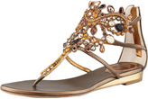 Rene Caovilla Crystal Caged Crown Thong Sandal, Bronze