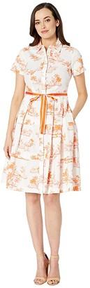Donna Morgan Short Sleeve Stretch Cotton Poplin Shirtdress with Contrast Grosgrain Belt (Canteloupe/White) Women's Clothing
