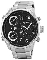 Men's JBW G4 Three Time Zone Swiss Movement Genuine Leather Real Diamond Watch
