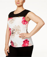 Calvin Klein Plus Size Floral-Print Zip-Trim Top