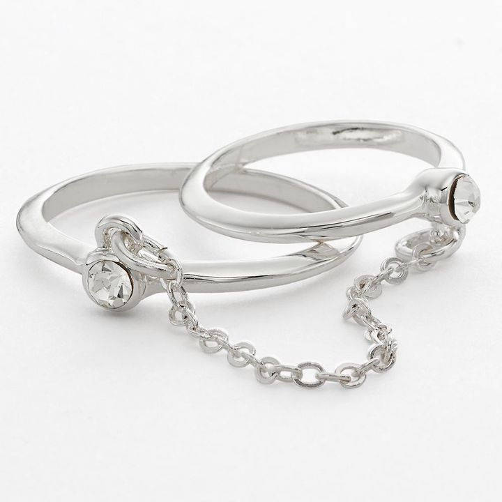 Lauren Conrad chain-linked two-finger ring