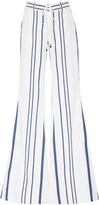 Roberto Cavalli Pinstriped Lace Up Flared Pants