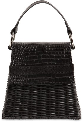 Wicker Wings Lian Rattan & Croc Embossed Leather Bag