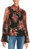 Free People Floral Knit Shirt