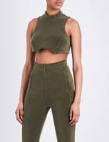 Yeezy Sleeveless stretch-towelling cropped top