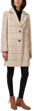 Sam Edelman Plaid Single-Breasted Coat, Created for Macy's