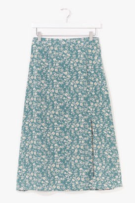 Nasty Gal Womens At My Slits End Floral Midi Skirt - Green - 12