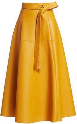 Oscar de la Renta Leather Self-Belted Midi Skirt