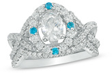 Zales 1-3/4 CT. T.W. Oval Diamond and Blue Sapphire Bridal Set in 14K White Gold