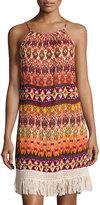 Band of Gypsies Tribal-Print Fringe Trim Dress, Orange Pattern