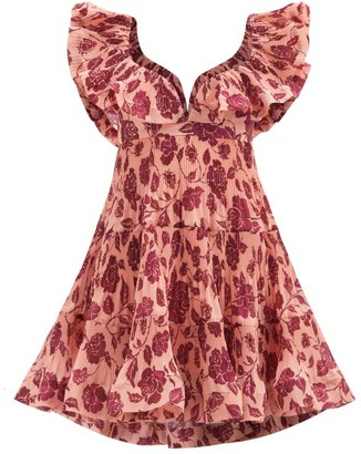Zimmermann Lovestruck Flounced Floral-print Poplin Dress - Pink Print