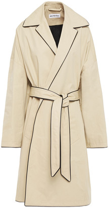 Balenciaga Oversized Faux Leather-trimmed Cotton-gabardine Trench Coat