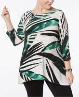 Alfani Plus Size Palm-Print Tunic, Created for Macy's